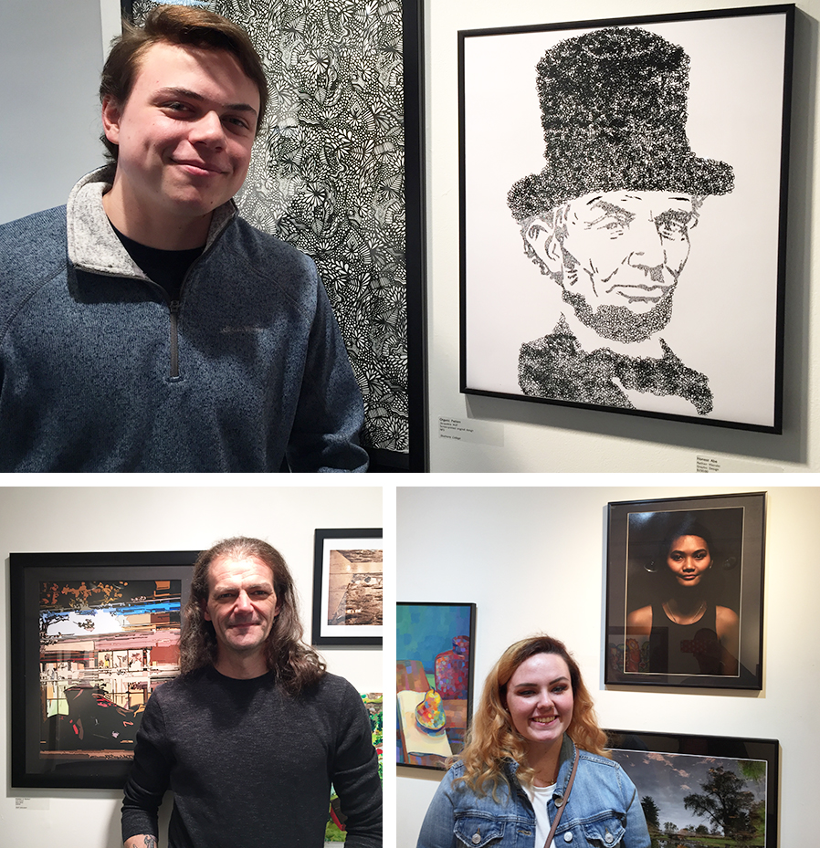 "Nathan Vilander, top, Christopher Burkett, bottom left, and Jenna Dennin have worked included in the ""120 Degrees Intercollegiate Art Regional"" exhibition at LARAC in Glens Falls."