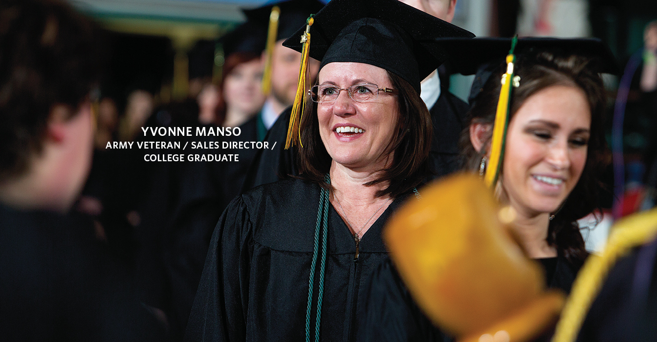 Adult female student at graduation with the text Yvonne Manso Army Veteran / Sales Director /  College Graduate