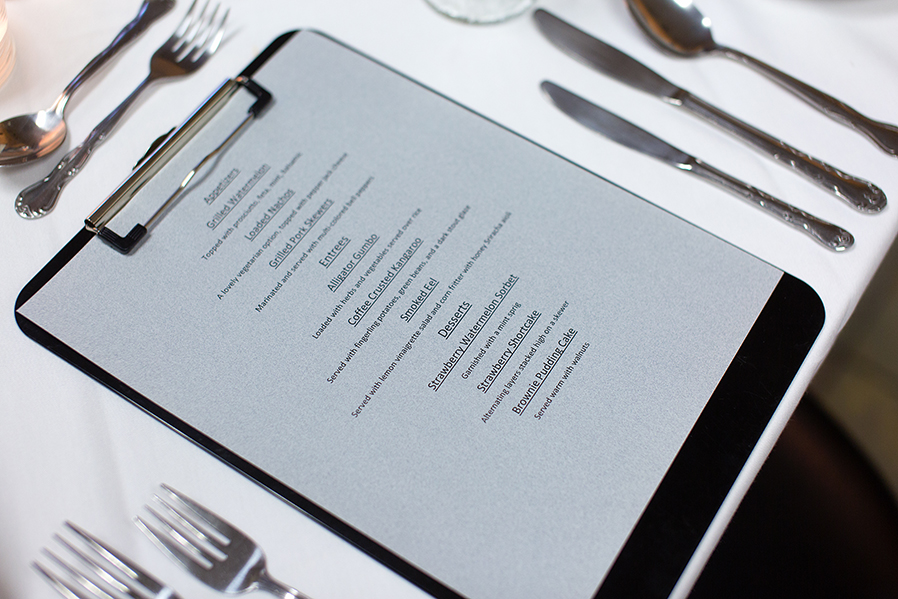 A sample menu highlights lunch service at the Culinary Arts Center.