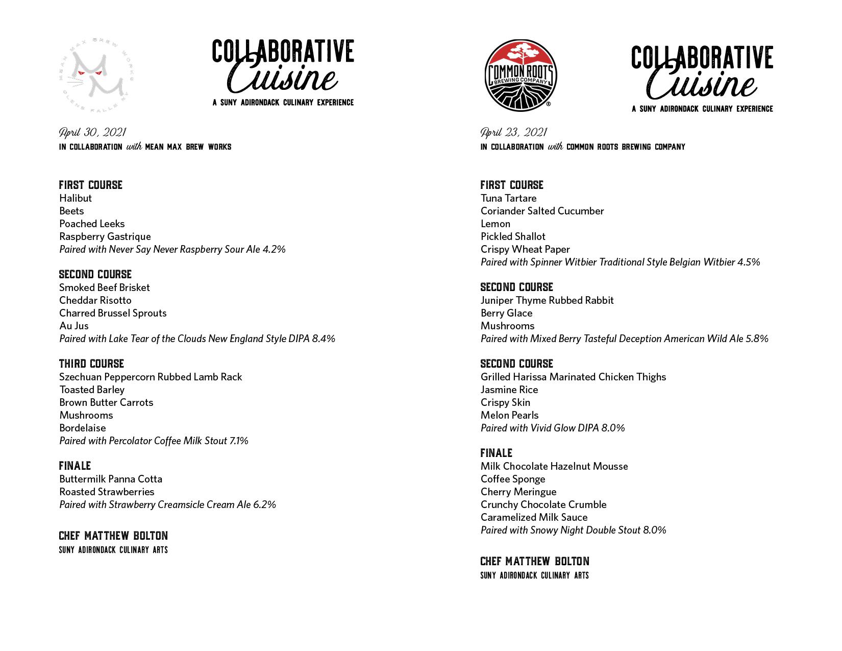 Collaborative Cuisine Menu from April 27 & April 30