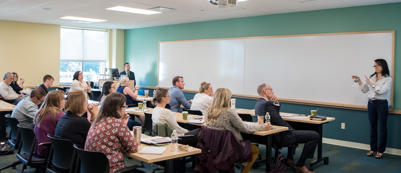 Classroom with adult students in a professional development course