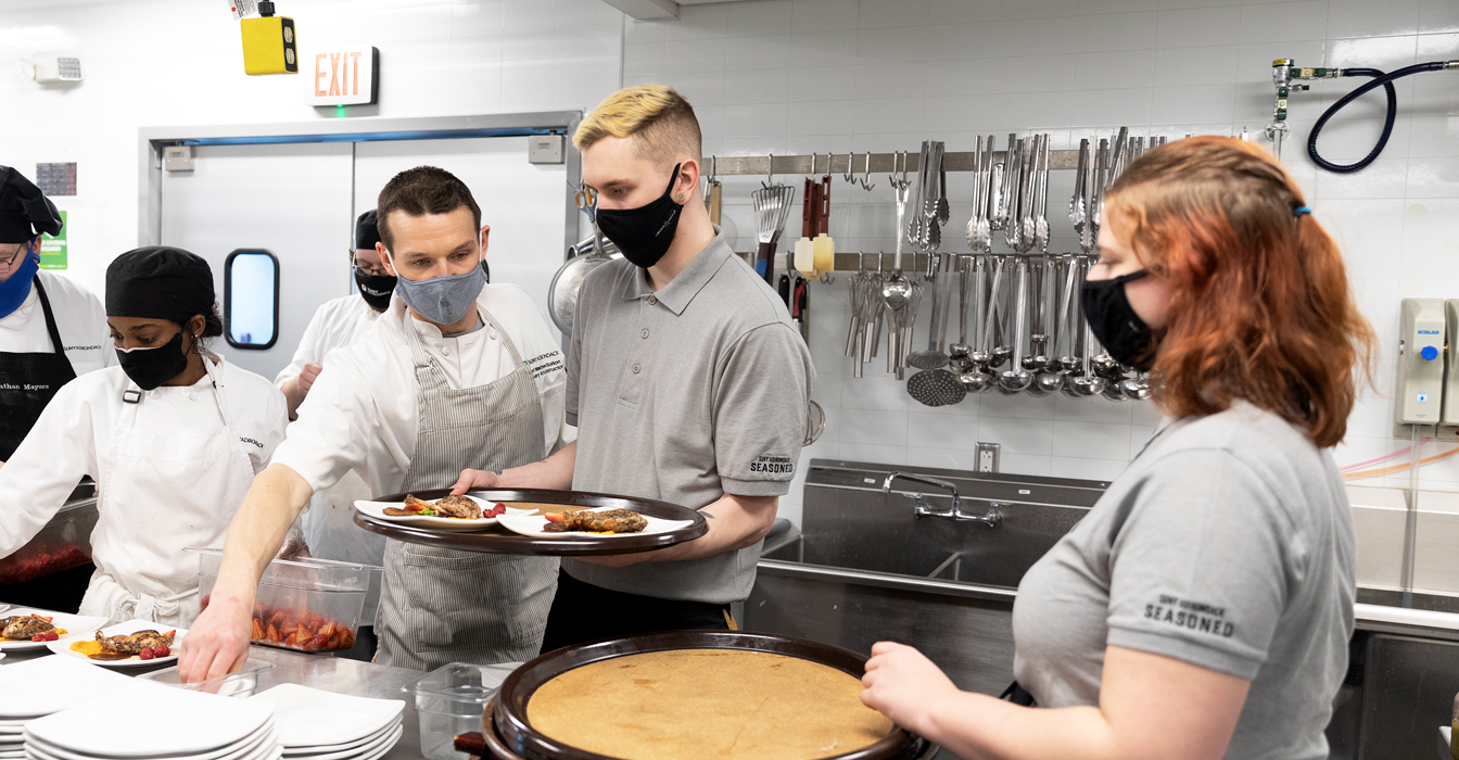 Culinary Students preparing food