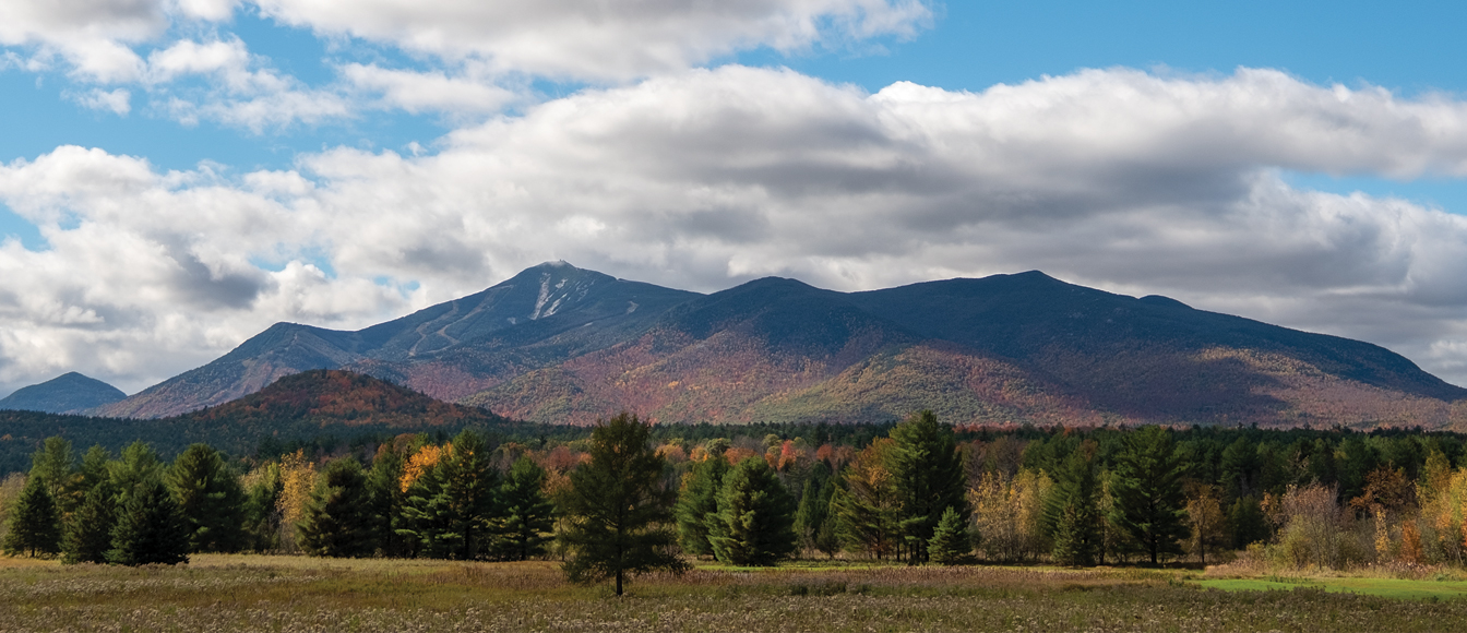 View of the mountains in the fall with blue sky and puffy white clouds