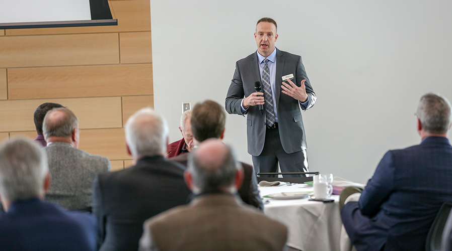 Bill Hart, vice president of U.S. operations for Irving Tissue, talks about SUNY Adirondack's community connections during the Feb. 6 Investors Summit held in the Northwest Bay Conference Center in Adirondack Hall.