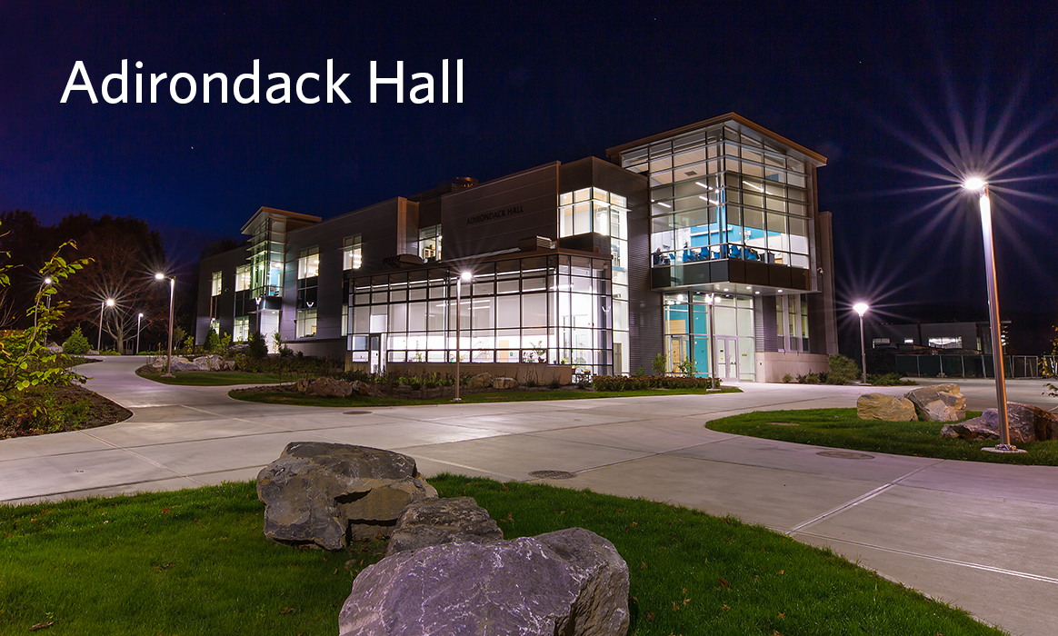 Exterior evening shot of the building Adirondack Hall