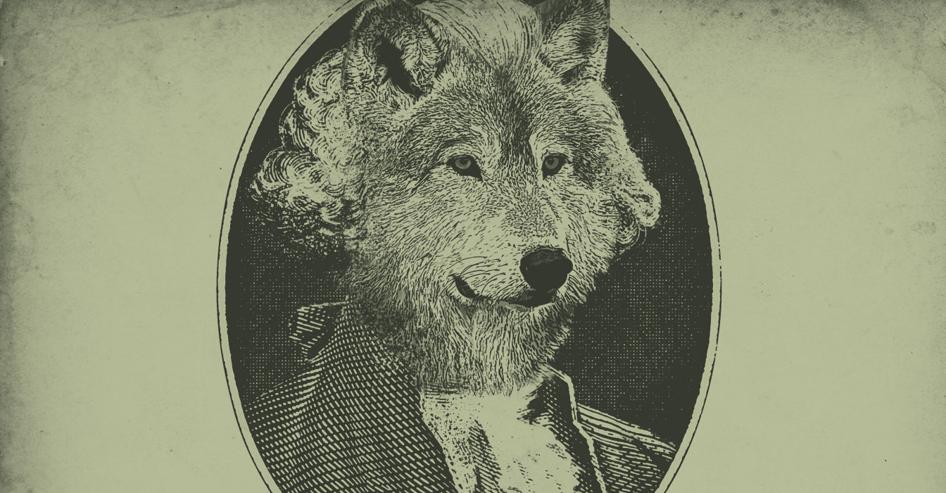 An image of Eddy the timberwolf as George Washington to look like a dollar bill