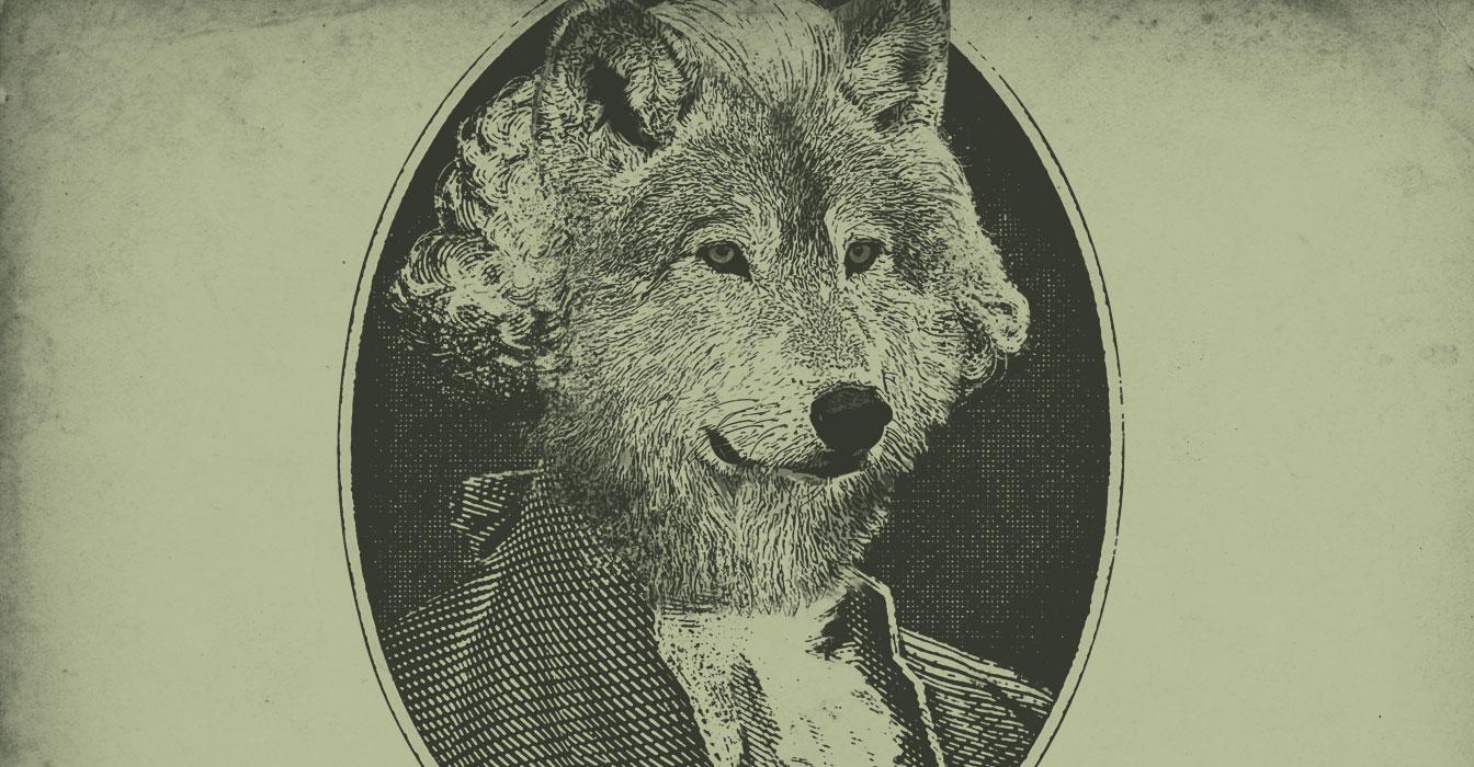 An image of Eddy the timberwolf as George Washington to look like a dollar bill