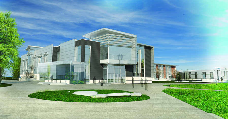 Architect's rendering of new addition to the science building.