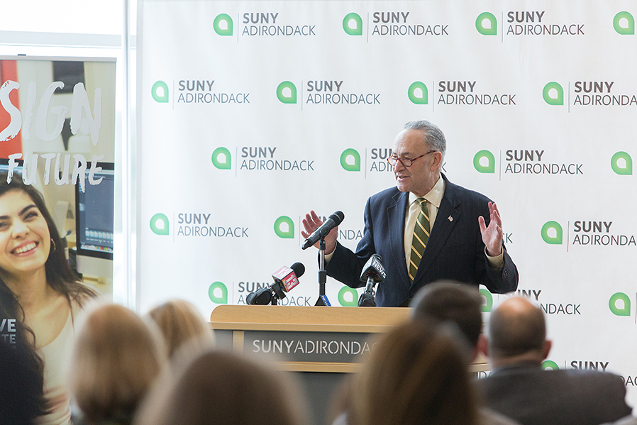 U.S. Senator Chuck Schumer talked about the important of Cybersecurity degree programs during a 2018 stop at SUNY Adirondack.