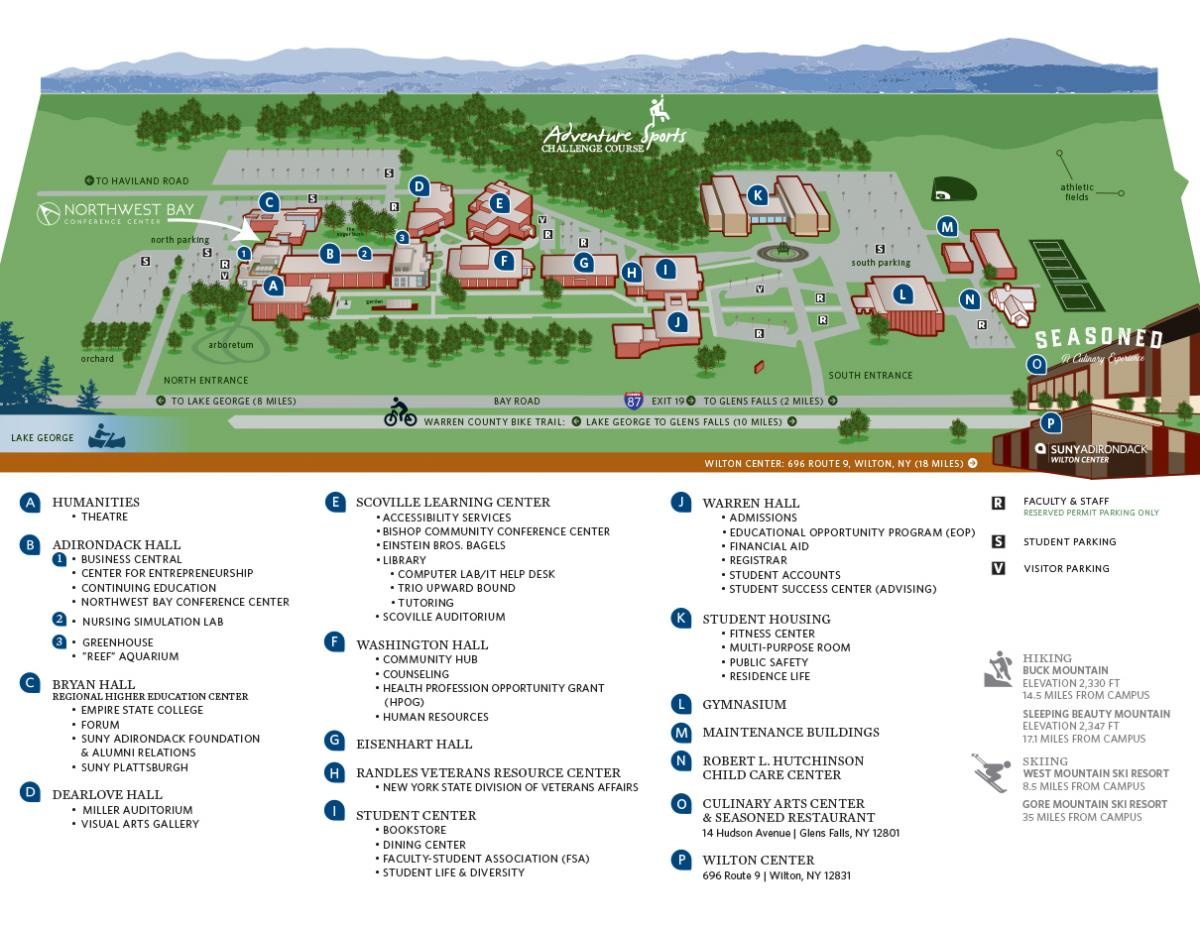 Campus Map & Directions | SUNY Adirondack on county county ocean collegocean, gloucester county college building maps, county of mchenry county illinois map, ocean county tax maps,