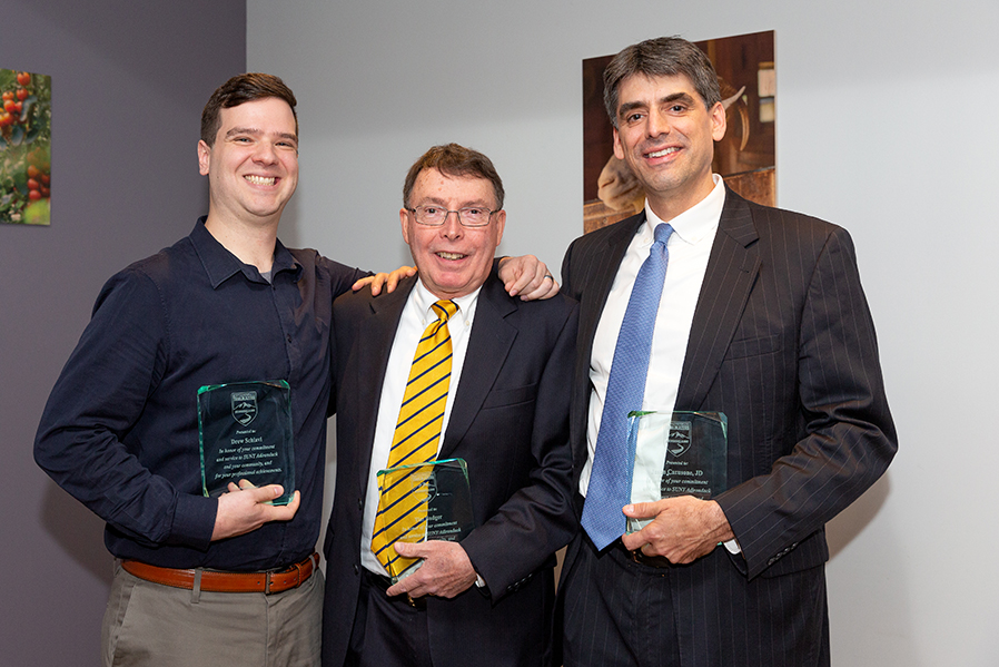 Alumni Drew Schiavi '01-'03, Tim Badger '67-'69 and Jason Carusone '87-'89 were inducted into the SUNY Adirondack Trailblazers Distinguished Alumni Society at a recognition dinner on Oct. 17 at Seasoned.