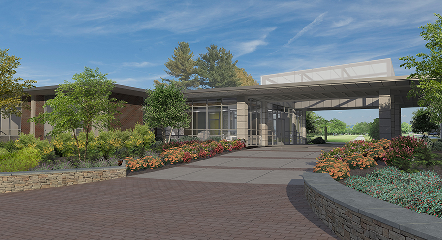 Architect's rendering of Warren Hall remodeling.