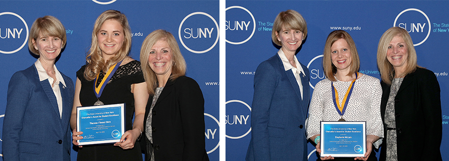 SUNY Chancellor Kristina M. Johnson, left, and SUNY Adirondack President Kristine Duffy, right, pose with Theresa Betz (left photo) and Stephanie McLain (right photo) during the Chancellor's Awards for Student Excellence ceremony.