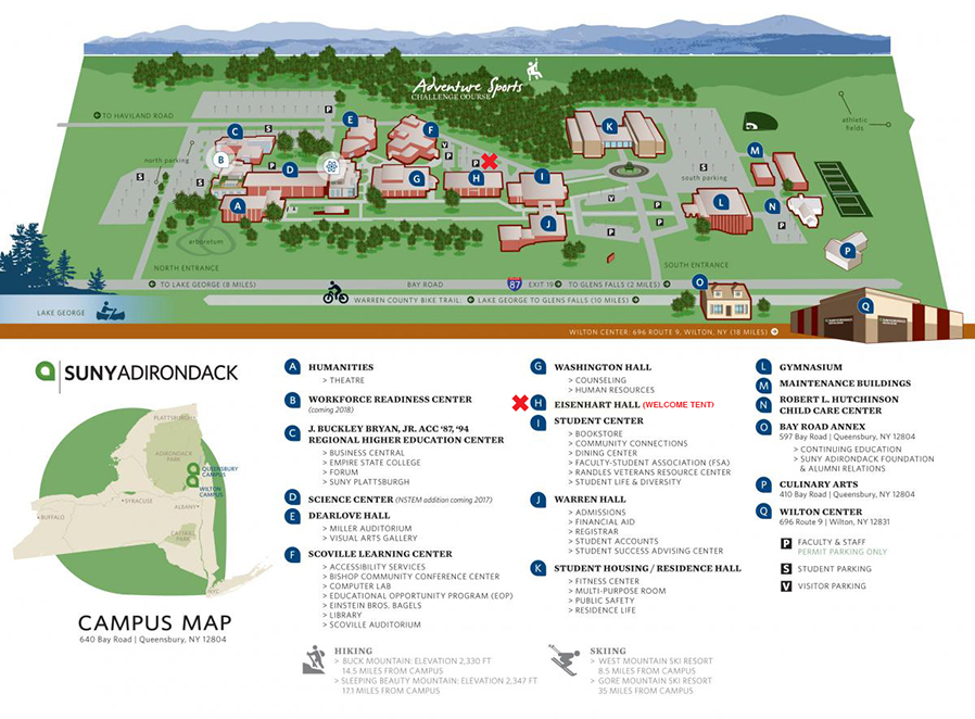 Map denoting Welcome tent on campus.