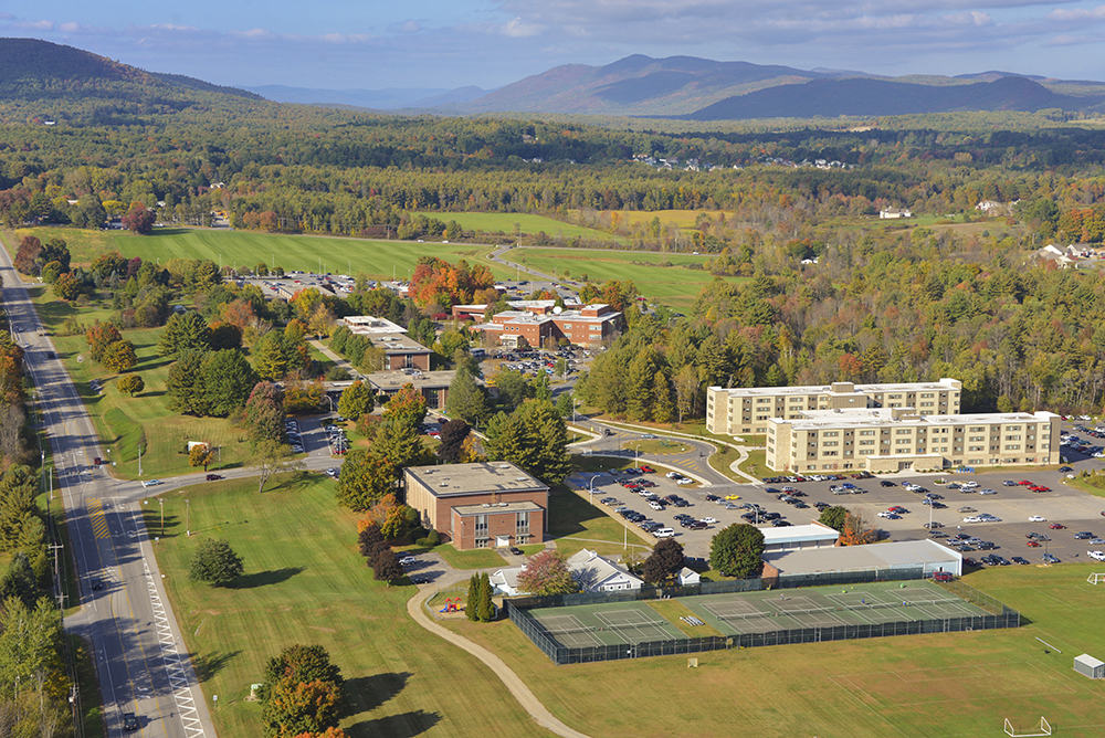Aerial view of Queensbury campus
