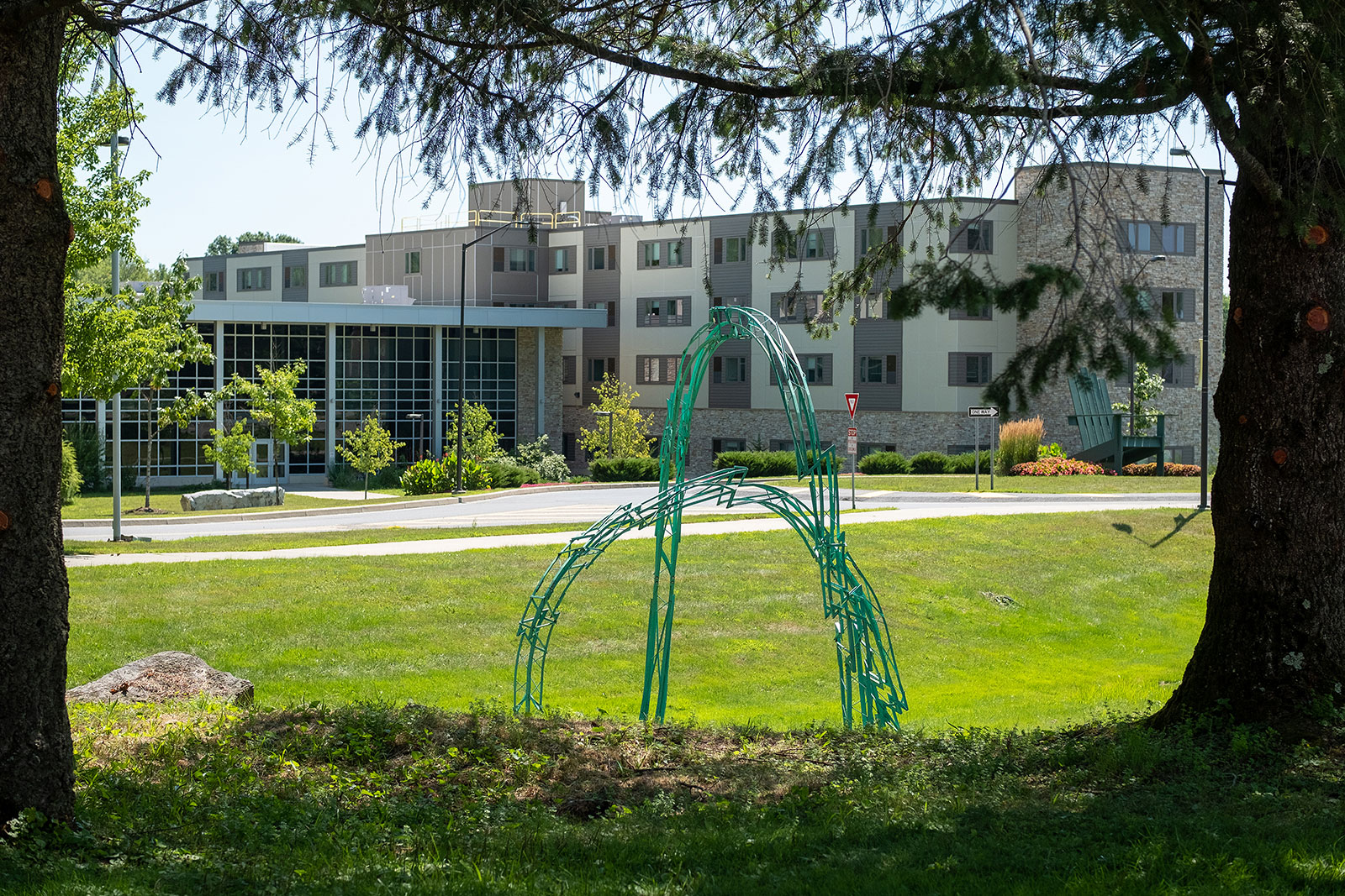 Zirbes sculpture overlooking residence hall