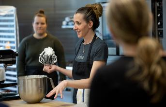 Andrea Maranville offers a baking demonstration.