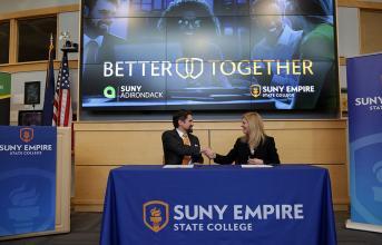 SUNY Empire State College President Jim Malatras and SUNY Adirondack President Kristine Duffy