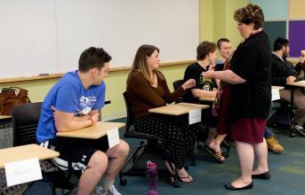 Professor Johnston teaching a class
