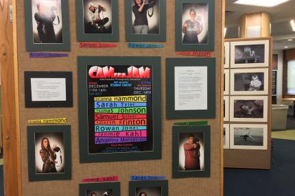 CAMeraJam display showcasing student photographers
