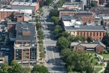 aerial view of downtown Saratoga Springs