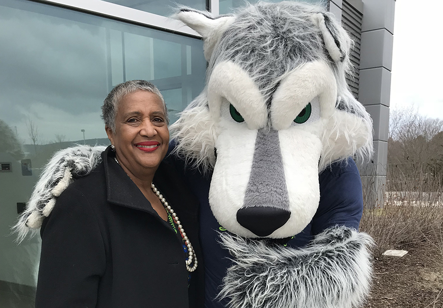 SUNY Trustee Eunice Lewin from Buffalo paid a visit to our campus on April 13 and took time out to pose with Eddy Rondack. Trustee Lewin had many positive comments about her meeting with some of our students and experienced the campus in full action by touring on open house day.